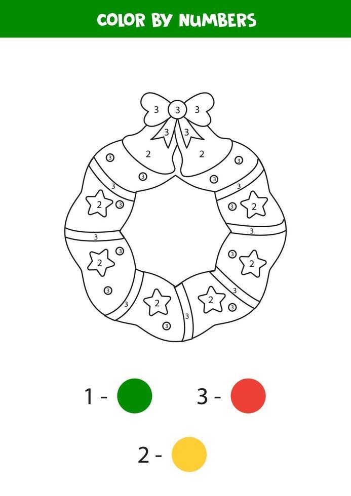 kleurboek van kerstkrans. kleur op nummer. vector