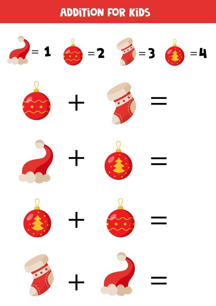 los de wiskundige vergelijking op. cartoon kerst sokken en hoeden. vector
