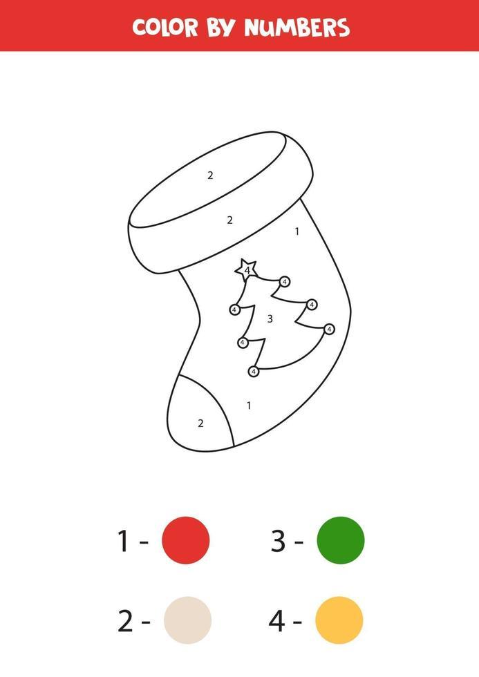 kleur cartoon kerstpagina op nummer. wiskunde spel. vector