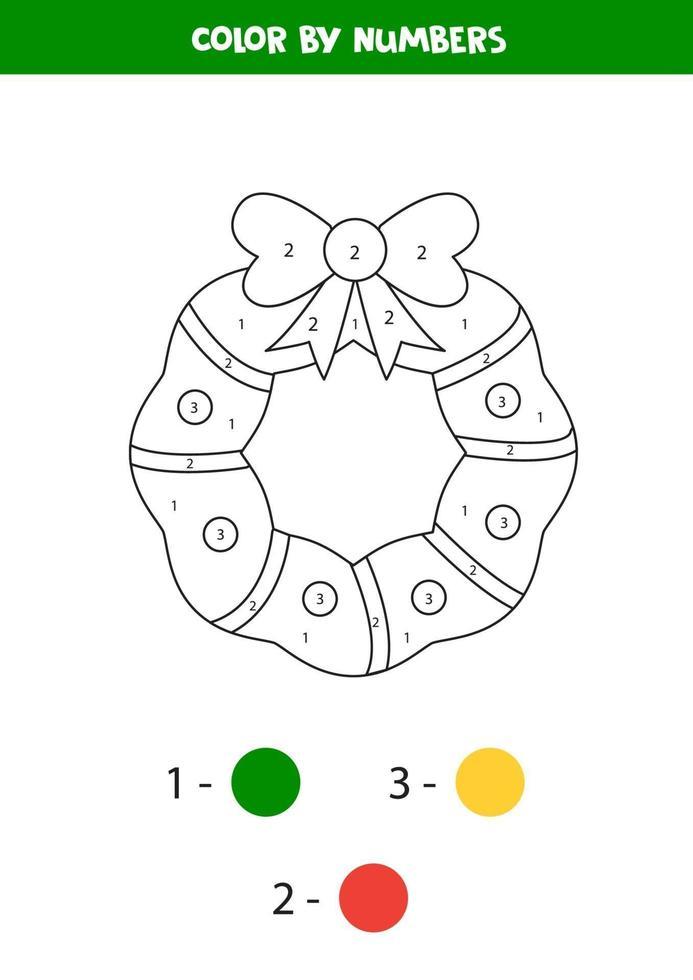 wiskunde werkblad voor kinderen. kleur kerstkrans op nummer. vector