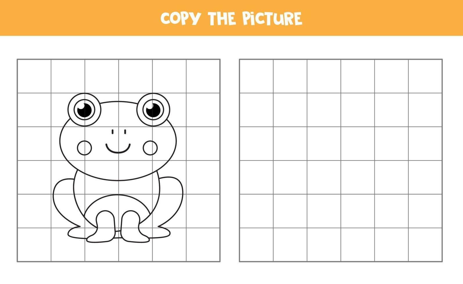 kopieer de afbeelding. schattige kikker. logisch spel voor kinderen. vector