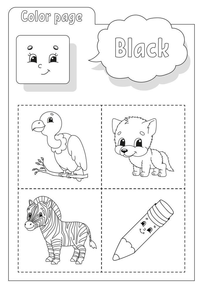 kleurboek zwart. kleuren leren. flashcard voor kinderen. stripfiguren. foto set voor kleuters. onderwijs werkblad. vector illustratie.
