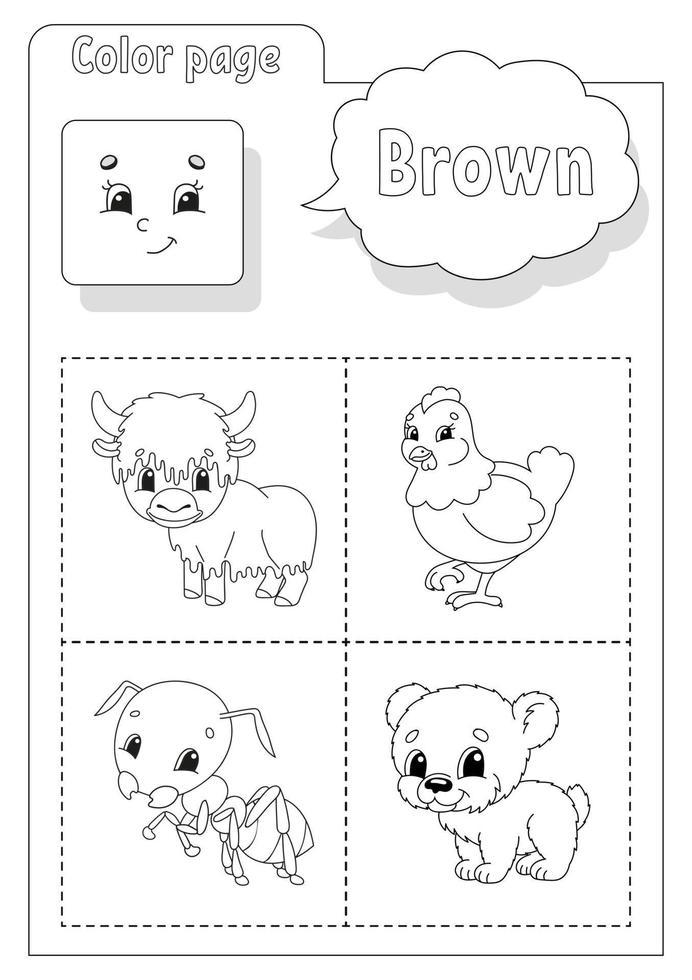 kleurboek bruin. kleuren leren. flashcard voor kinderen. stripfiguren. foto set voor kleuters. onderwijs werkblad. vector illustratie.