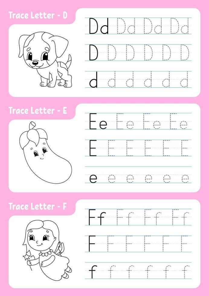 brieven schrijven d, e, f. tracing pagina. werkblad voor kinderen. oefenblad. leer alfabet. schattige karakters. vector illustratie. cartoon stijl.