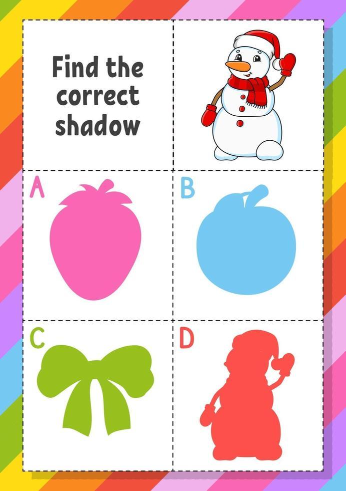 vind de juiste schaduw met sneeuwpop. onderwijs ontwikkelend werkblad. matching game voor kinderen. kleur activiteitenpagina. puzzel voor kinderen. schattig karakter. vector illustratie. cartoon stijl.