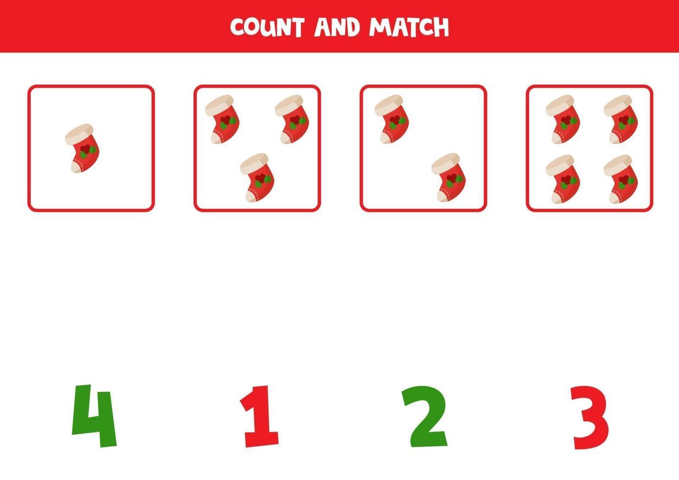 tellen spel met kerstsokken. wiskundig werkblad. vector