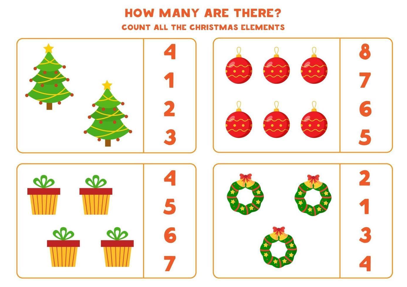 tellen spel voor kinderen. wiskunde-werkblad met kerstthema. vector