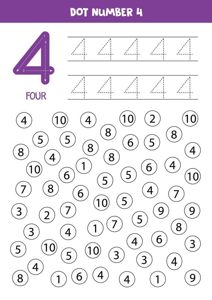 stip of kleur alle cijfers 4. educatief spel. vector