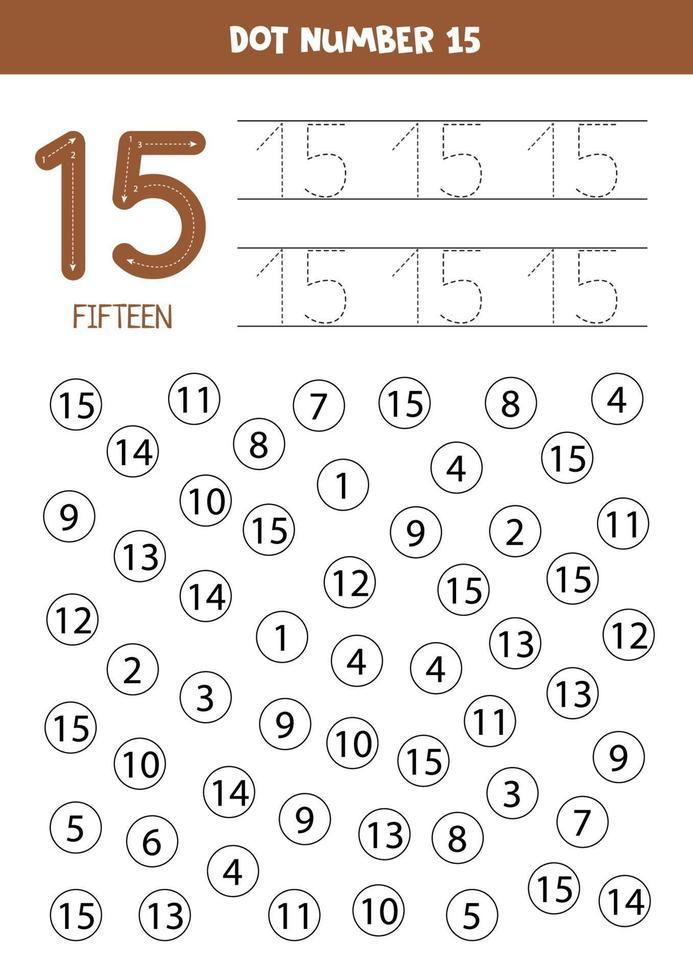 zoek en kleur nummer 15. rekenspel voor kinderen. vector