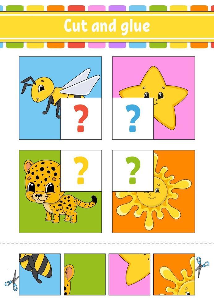 knip en lijm. set flitskaarten. kleur puzzel. onderwijs ontwikkelend werkblad. activiteitenpagina. spel voor kinderen. grappig karakter. geïsoleerde vectorillustratie. cartoon stijl. vector