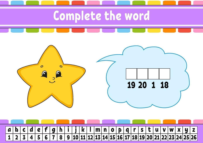 maak de woorden ster af. cijfercode. woordenschat en cijfers leren. onderwijs werkblad. activiteitenpagina om engels te studeren. geïsoleerde vectorillustratie. stripfiguur. vector