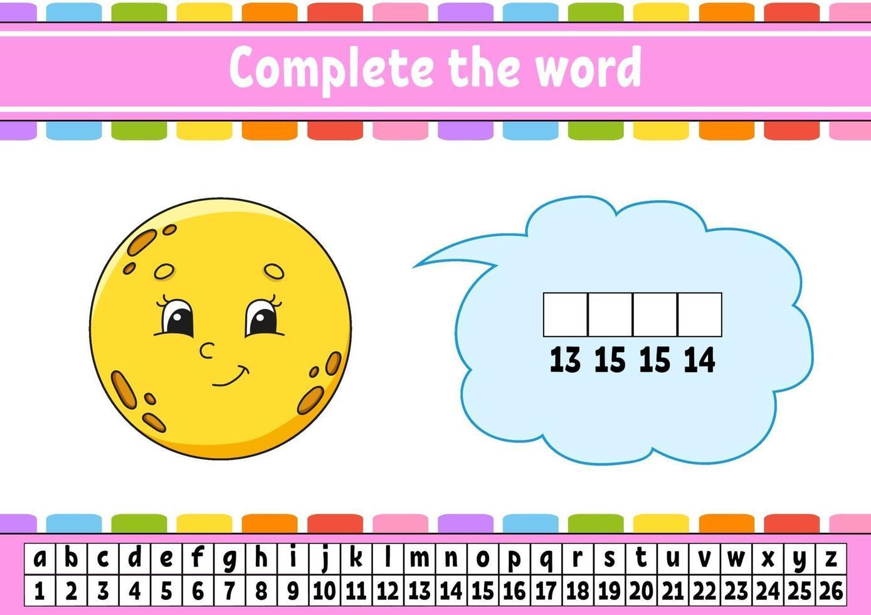 vul de woorden maan in. cijfercode. woordenschat en cijfers leren. onderwijs werkblad. activiteitenpagina om engels te studeren. geïsoleerde vectorillustratie. stripfiguur. vector