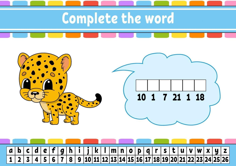 vul de woorden jaguar in. cijfercode. woordenschat en cijfers leren. onderwijs werkblad. activiteitenpagina om engels te studeren. geïsoleerde vectorillustratie. stripfiguur. vector