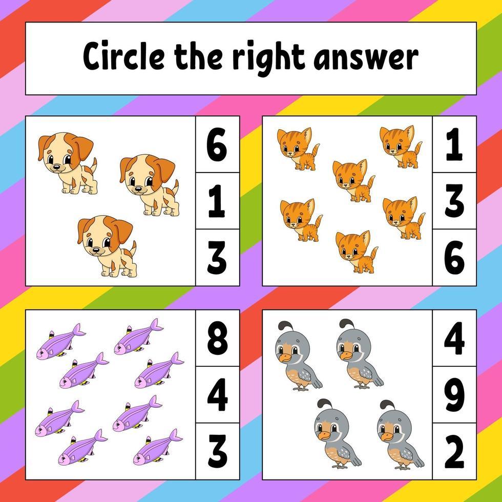 Omcirkel het juiste antwoord. onderwijs ontwikkelend werkblad. activiteitenpagina met afbeeldingen. spel voor kinderen. kleur geïsoleerde vectorillustratie. grappig karakter. cartoon stijl. vector
