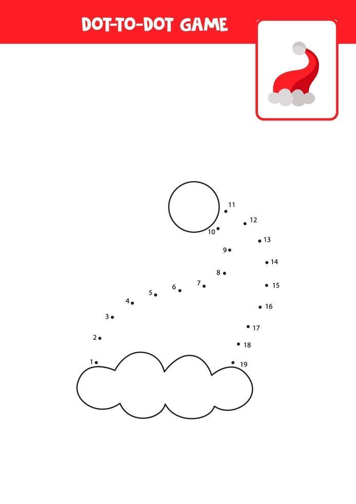 verbind het stippen-spel met een kerstmuts. vector