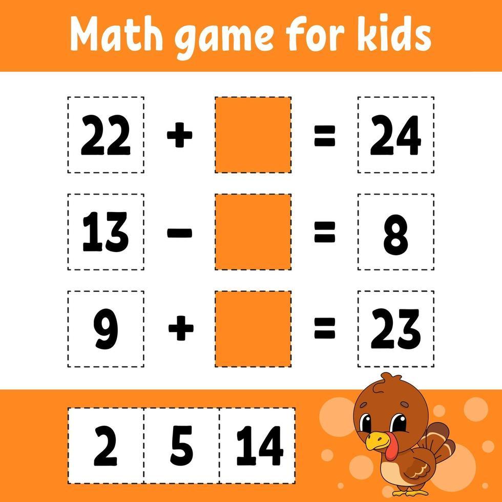 wiskunde spel voor kinderen kalkoen. onderwijs ontwikkelend werkblad. activiteitenpagina met afbeeldingen. spel voor kinderen. kleur geïsoleerde vectorillustratie. grappig karakter. cartoon stijl. vector