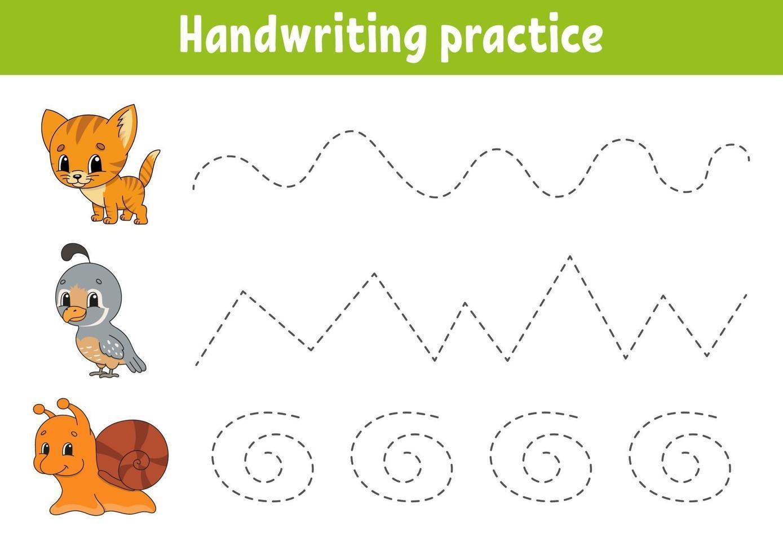 handschriftpactice cat. onderwijs ontwikkelend werkblad. activiteitenpagina. kleurenspel voor kinderen. geïsoleerde vectorillustratie. stripfiguur. vector