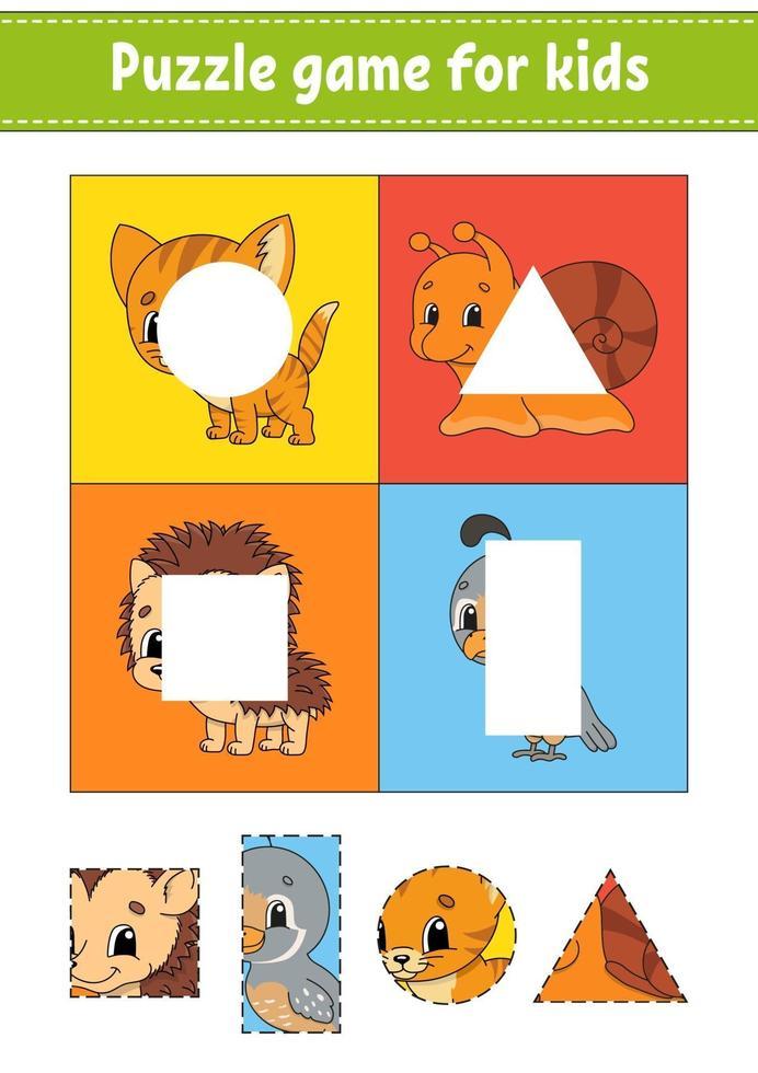 puzzelspel voor kinderen. Knip en plak. snijden praktijk. vormen leren. onderwijs werkblad. cirkel, vierkant, rechthoek, driehoek. activiteitenpagina. stripfiguur. vector