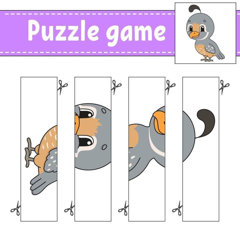 puzzelspel voor kinderen met kwartel. snijden praktijk. onderwijs ontwikkelend werkblad. activiteitenpagina. stripfiguur. vector