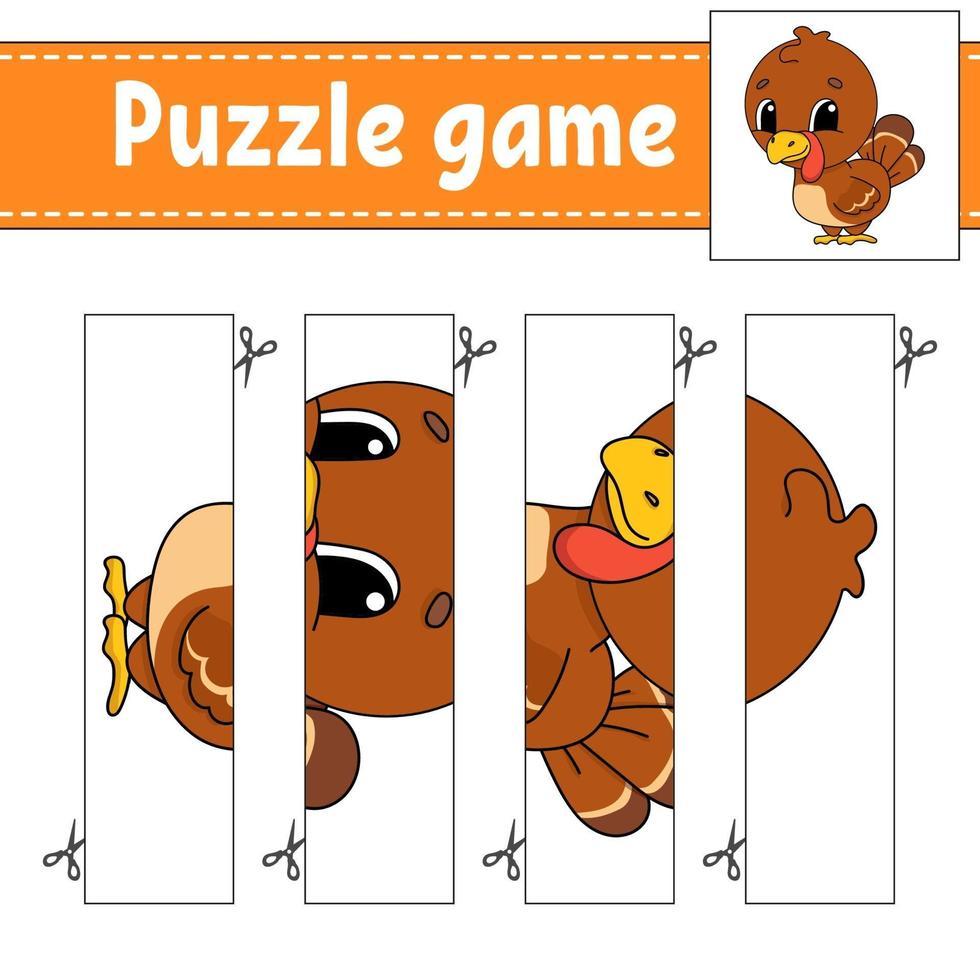 puzzelspel voor kinderen met kalkoen. snijden praktijk. onderwijs ontwikkelend werkblad. activiteitenpagina. stripfiguur. vector