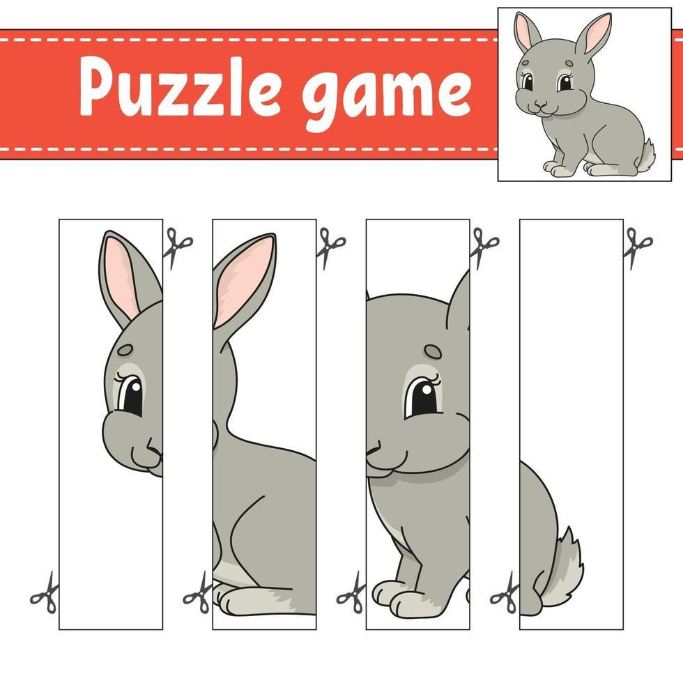 puzzelspel voor kinderen met konijn. snijden praktijk. onderwijs ontwikkelend werkblad. activiteitenpagina. stripfiguur. vector