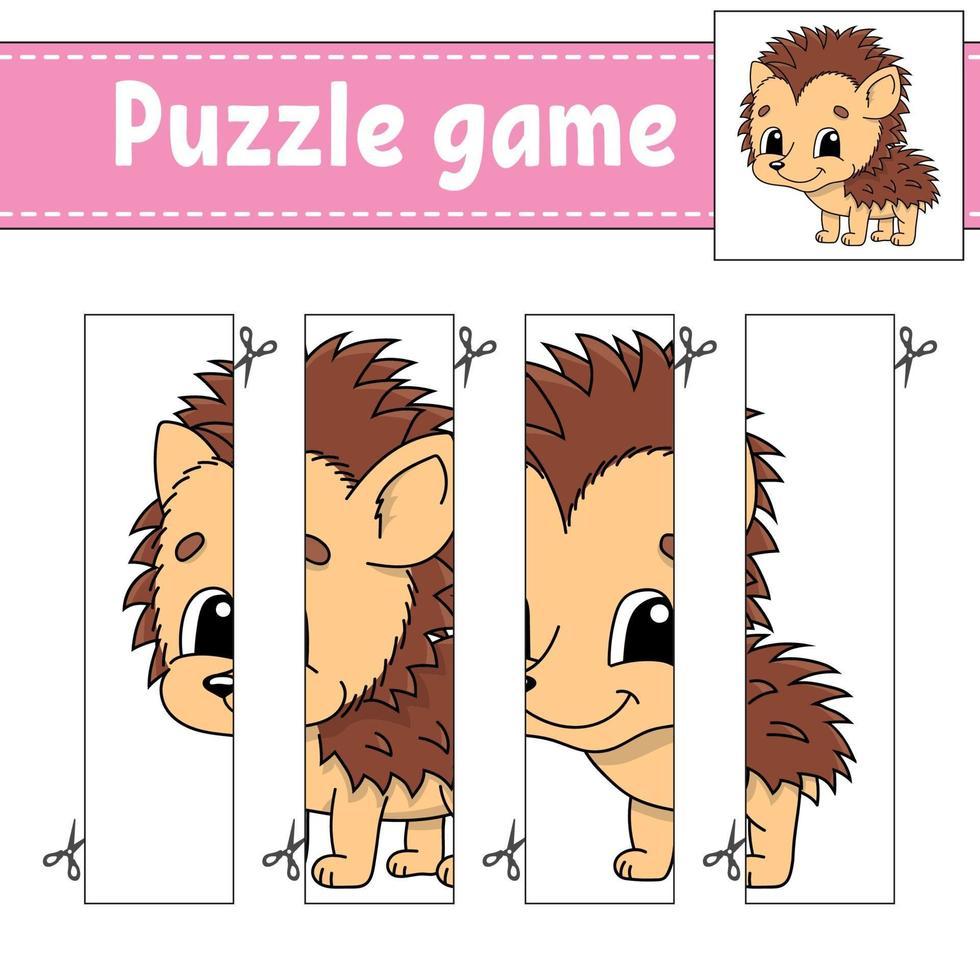 puzzelspel voor kinderen met egel. snijden praktijk. onderwijs ontwikkelend werkblad. activiteitenpagina. stripfiguur. vector