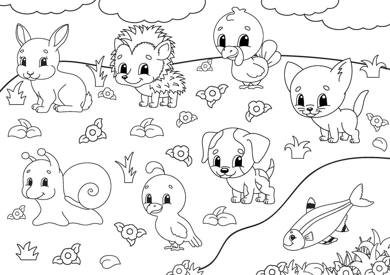 kleurboek voor kinderen. dierlijke clipart. vrolijke karakters. vector illustratie. schattige cartoon stijl. zwart contour silhouet. geïsoleerd op een witte achtergrond.