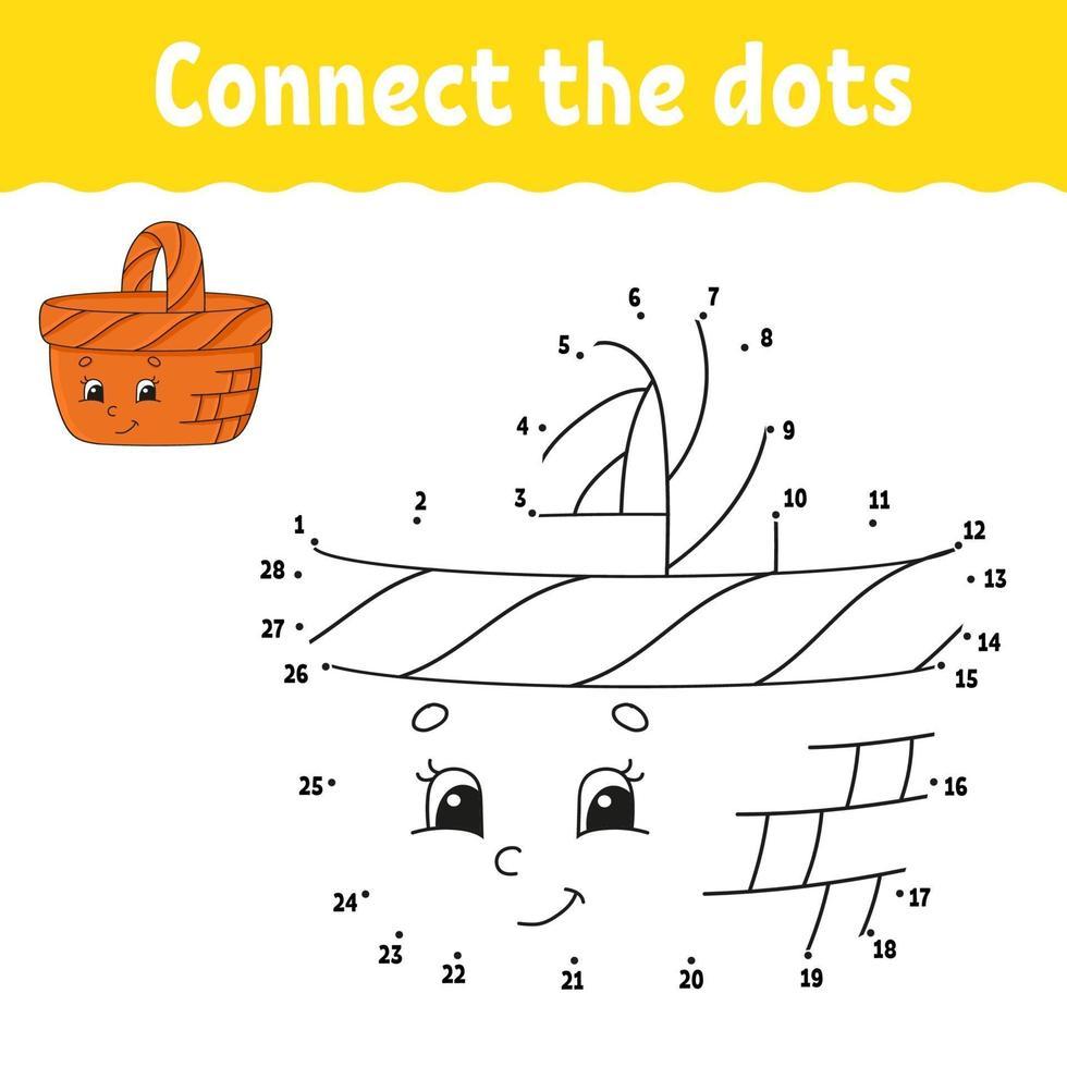 stip om spel met mand te stippelen. teken een lijn. voor kinderen. activiteit werkblad. kleurboek. met antwoord. stripfiguur. vector illustratie.