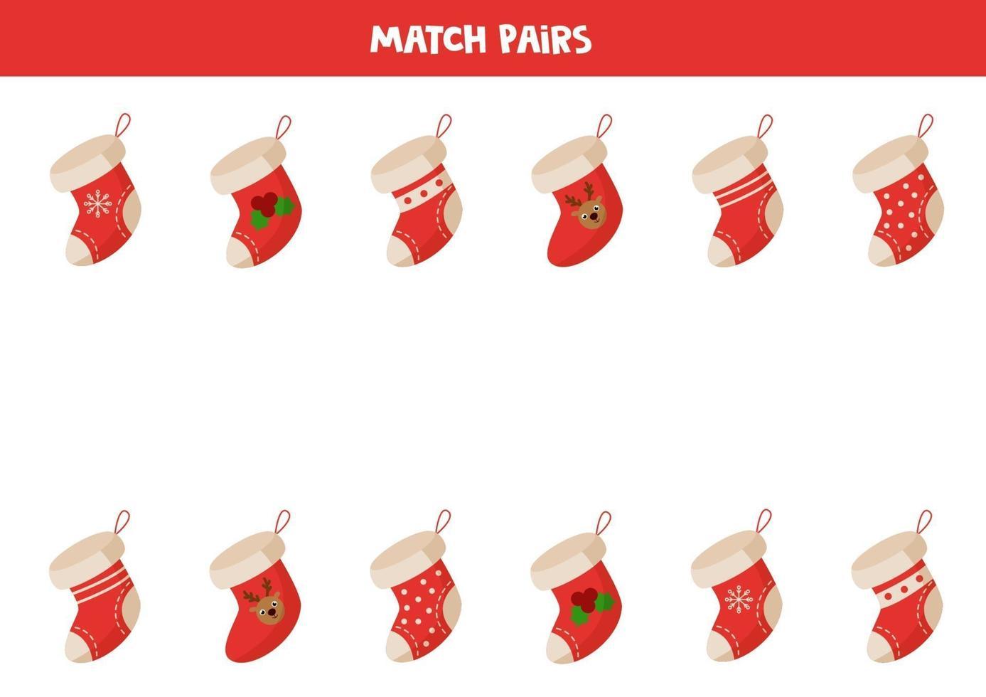 matching game voor kinderen. vind paar kerstsokken. vector