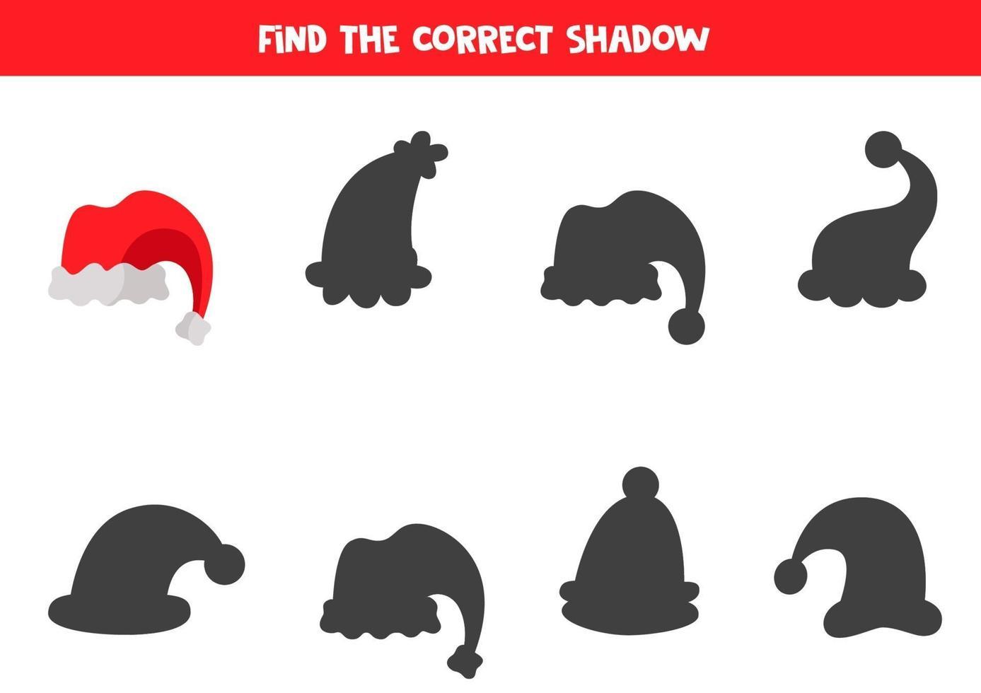vind schaduw van kerst cartoon hoed. logisch spel. vector
