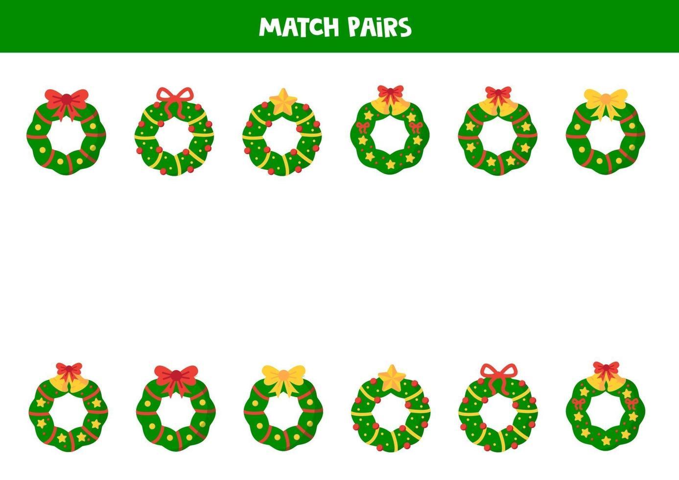 match paar kerstkransen. spel voor kinderen. vector
