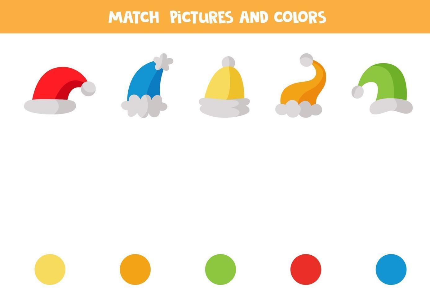 kleuraanpassingsspel voor kinderen. match caps op kleur. vector