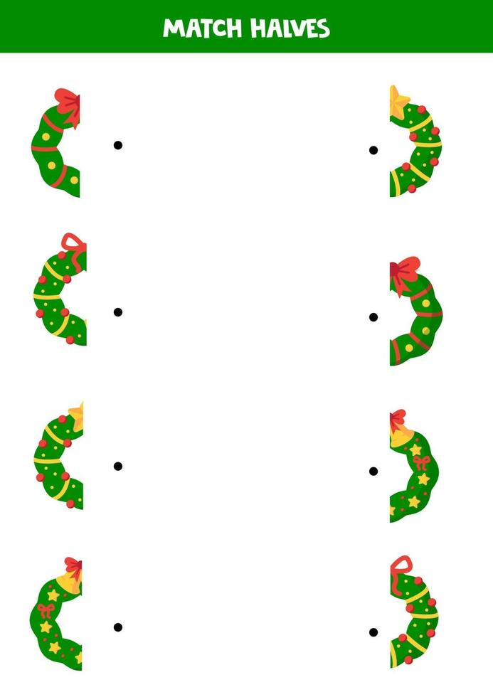 vind de helft van elke kerstkrans. logisch werkblad. vector