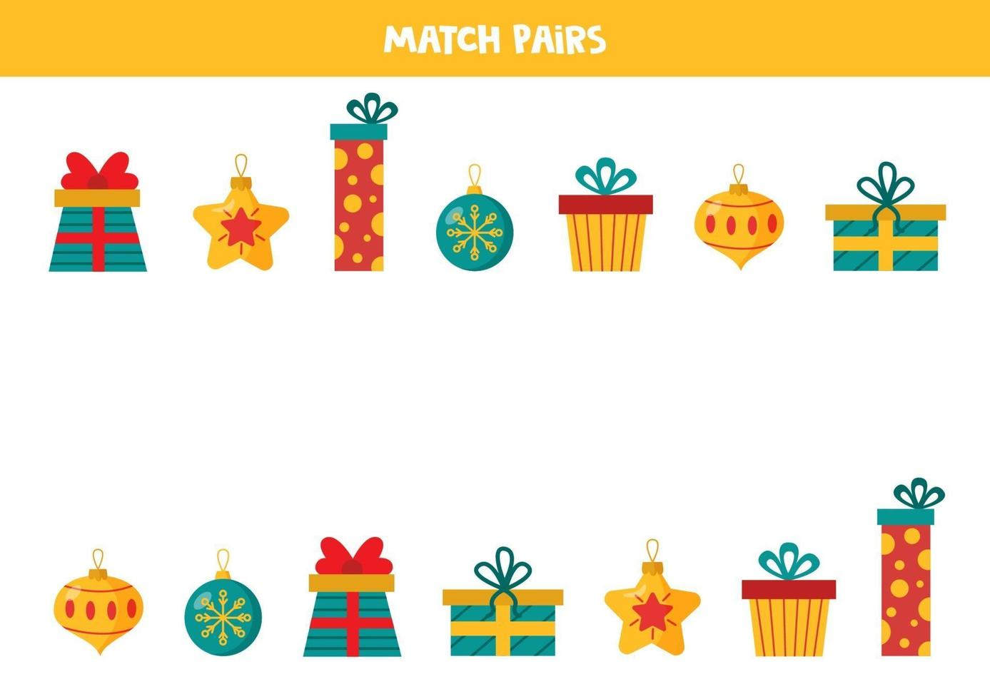 vind een paar voor elk kerstcadeautjes en ballen. vector