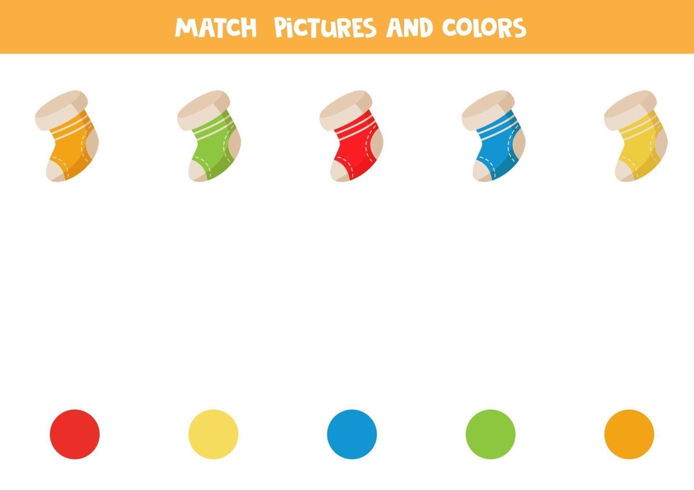 match kerstsokken en kleuren. educatieve logische puzzel. vector