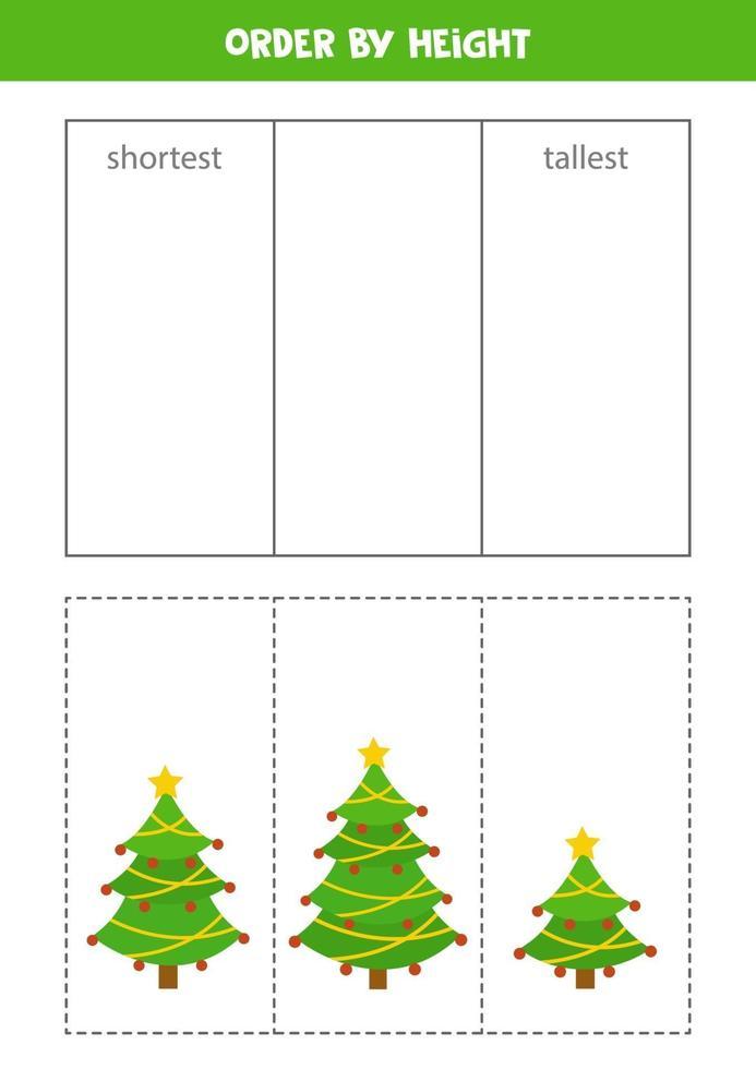 sorteerspel voor kinderen. sorteer kerstbomen op hoogte. vector