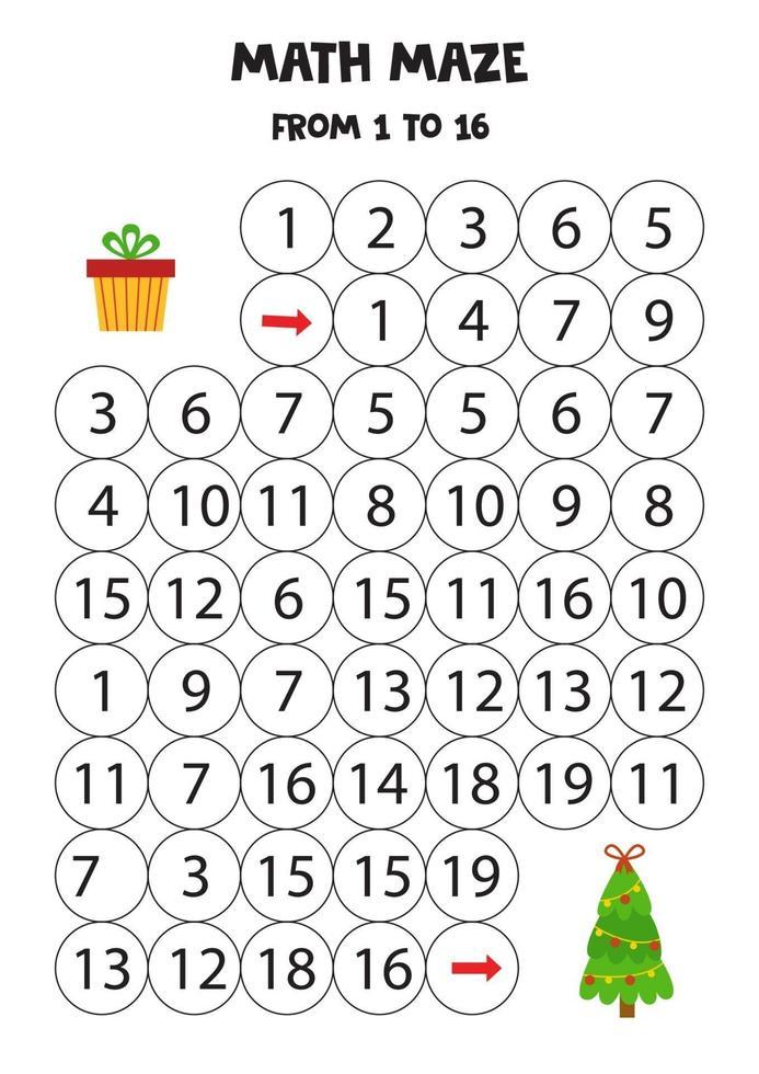 wiskundig werkblad met kerstboom en cadeau. vector