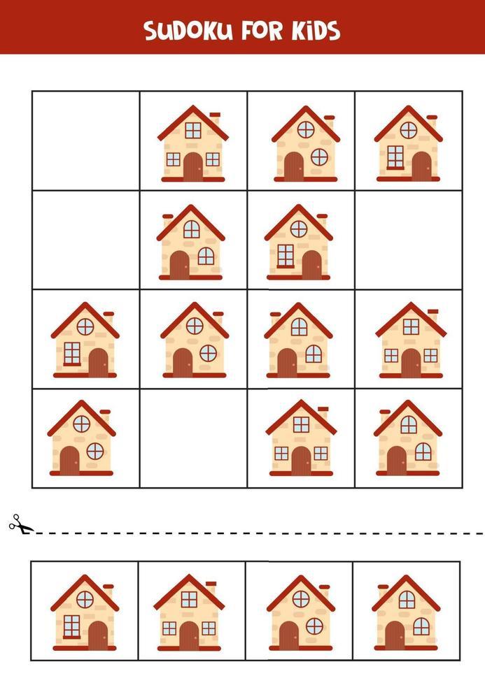 Sudoku-spel met cartoonhuizen. logisch werkblad voor kinderen. vector