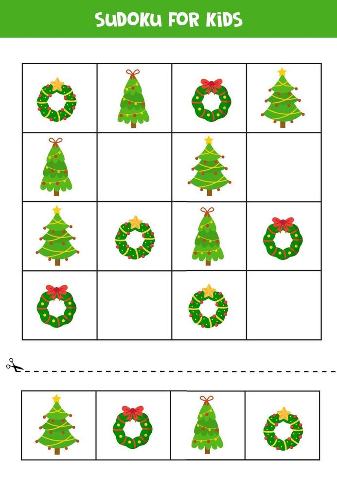 Sudoku puzzel voor kinderen met kerstkransen en bomen. vector