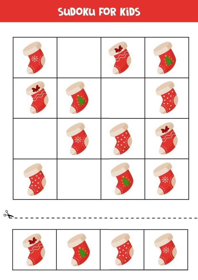 Sudoku-spel voor kinderen. set kerst sokken. vector
