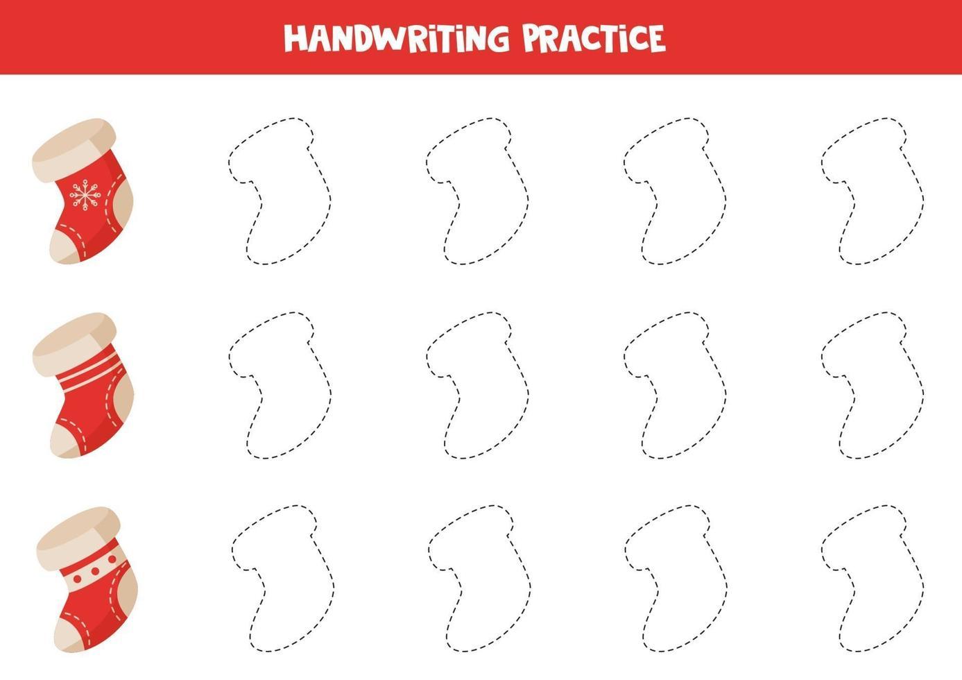 contouren traceren met kerstsokken. handschrift praktijk. vector