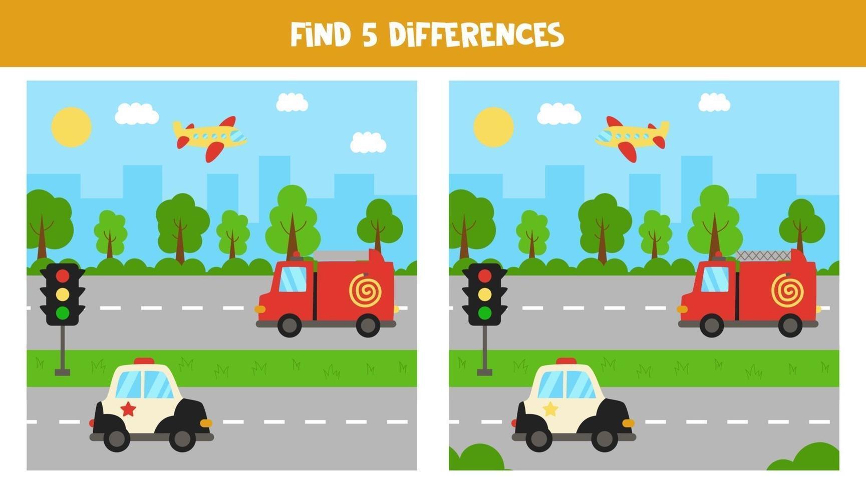 vind 5 verschillen tussen afbeeldingen. vervoermiddelen. vector