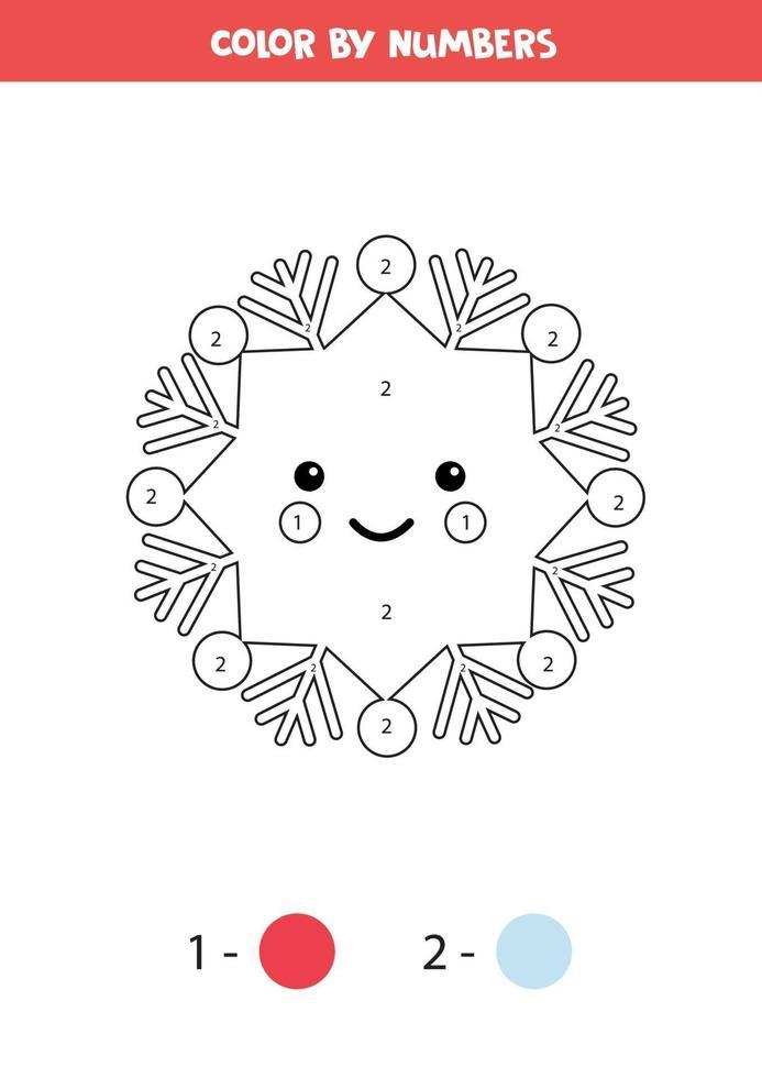 kleurplaat met schattige kawaii sneeuwvlok. wiskunde spel. vector