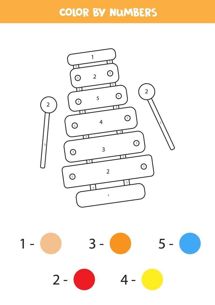 kleur cartoon speelgoed xylofoon op nummer. educatief werkblad. vector