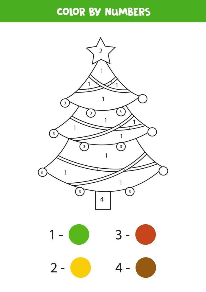 kleur schattige kerst dennenboom op nummer. vector