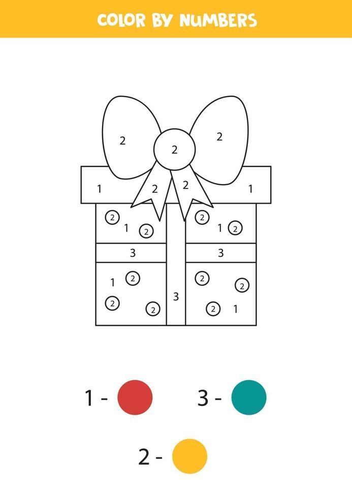 kleurplaat voor kinderen met leuke geschenkdoos voor kerstmis. vector