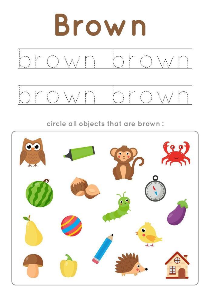 bruine kleur leren voor kleuters. Schrijf oefening. vector