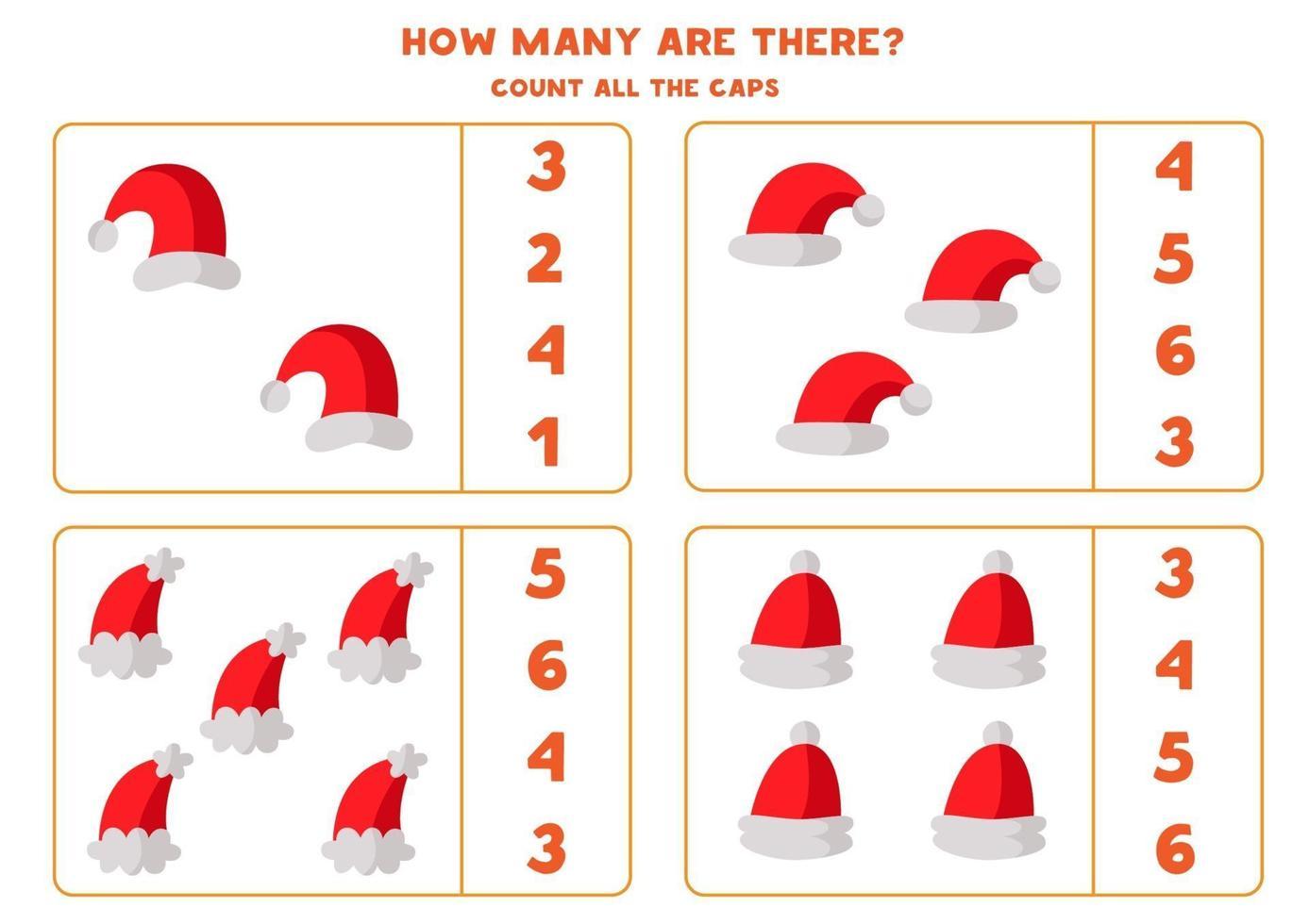 tel alle kerstman hoeden. rekenspel voor kinderen. vector