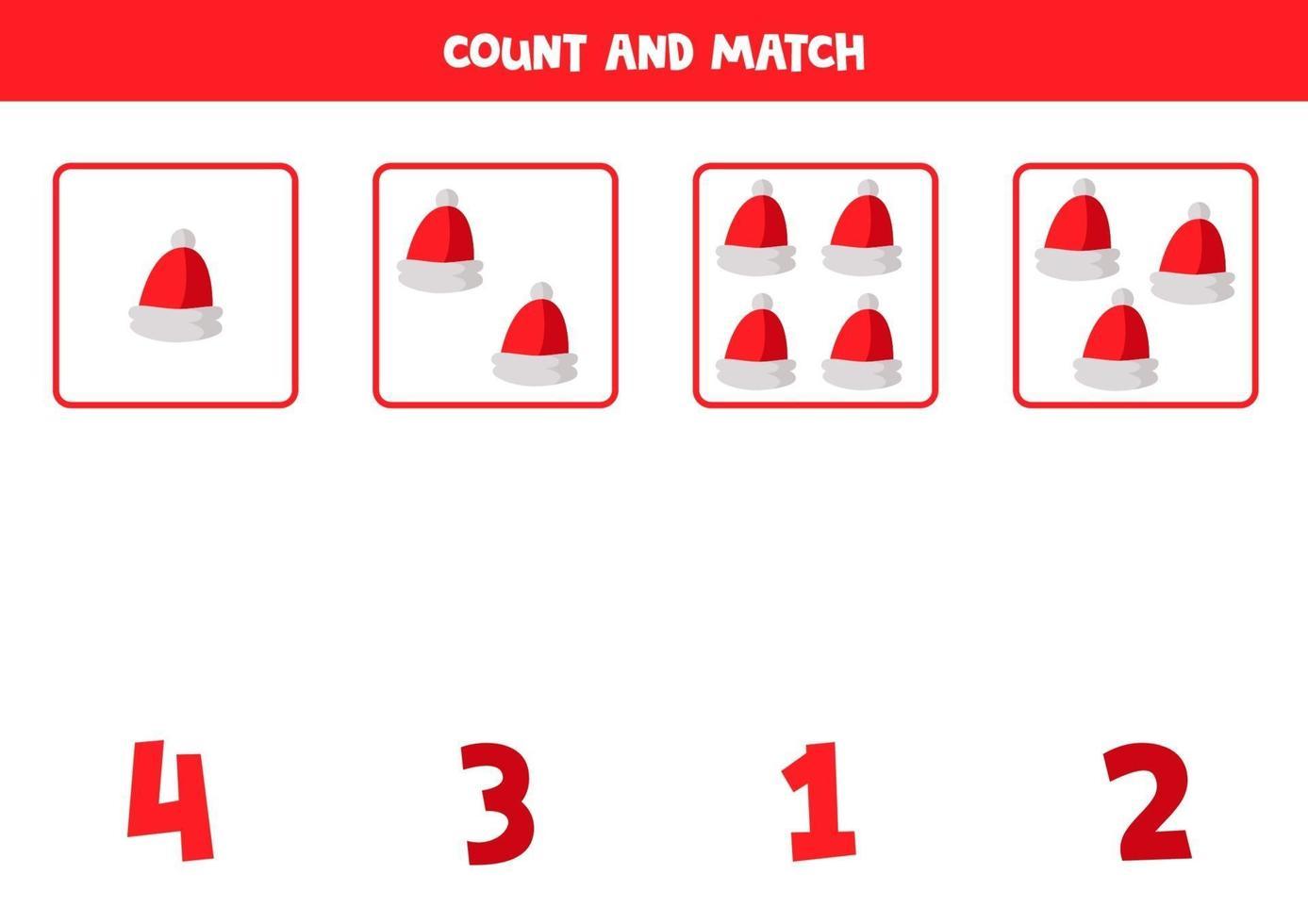 werkblad tellen met cartoon rode kerstman caps. vector