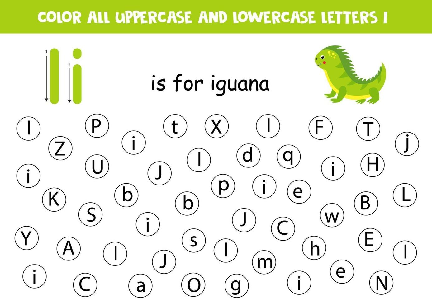 alfabet werkblad. vind alle letters i. puntletters. vector